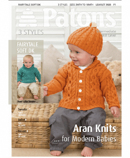 Patons - 3 Styles Aran Knits for Modern Babies - Leaflet 3928
