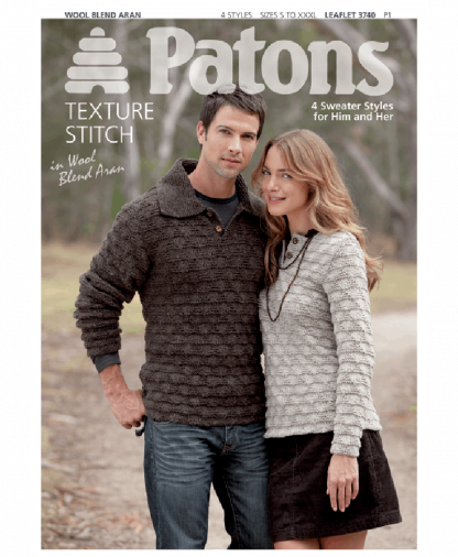 Patons 3740 - Wool Blend Aran Texture Stitch 4 Sweater Styles for Men & Women