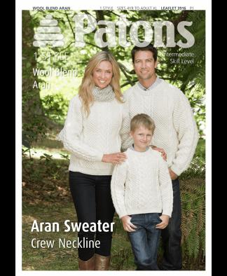 Patons - Aran Sweater Crew Neckline - Leaflet 3916