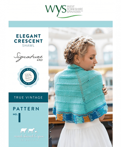 West Yorkshire Spinners Signature 4 Ply - Pattern No 1 - Elegant Crescent Shawl