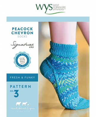 West Yorkshire Spinners Signature 4 Ply - Pattern No 3 - Peacock Chevron Socks