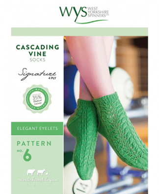 West Yorkshire Spinners Signature 4 Ply - Pattern No 6 - Cascading Vine Socks