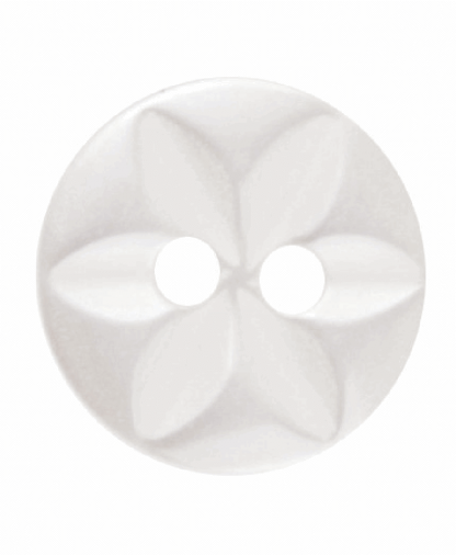Round Star Button - 18 Lignes (11mm) - Cream (G203218_2)