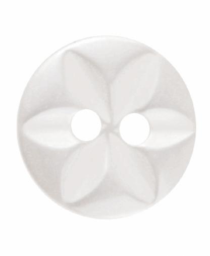 Round Star Button - 18 Lignes (11mm) - Cream (G203218_2)