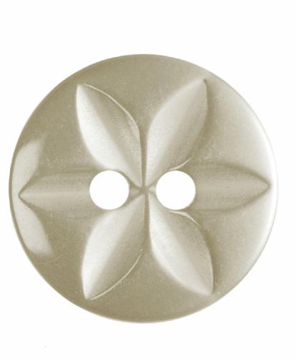 Round Star Button - 22 Lignes (14mm) - Cream (G203222_2)