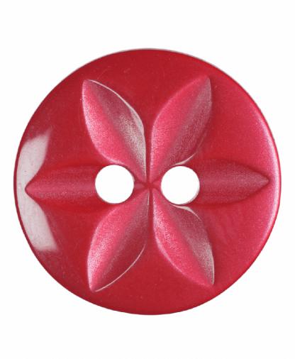 Round Star Button - 22 Lignes (14mm) - Red (G203222_8)