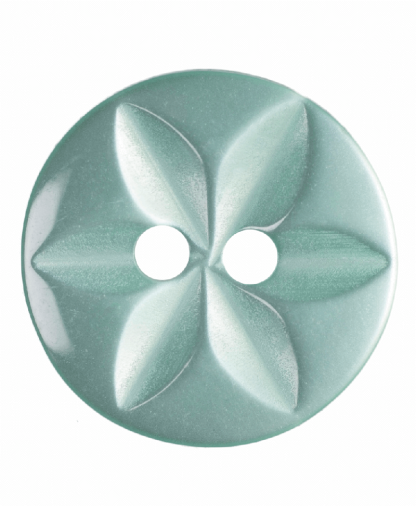 Round Star Button - 22 Lignes (14mm) - Turquoise (G203222_35)