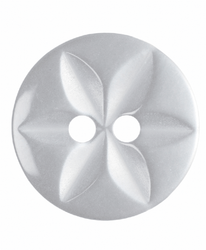 Round Star Button - 22 Lignes (14mm) - White (G203222_1)