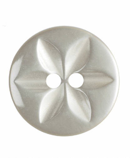 Round Star Button - 26 Lignes (16mm) - Cream (G203226_2)