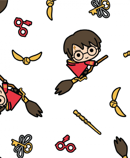 The Craft Cotton Co - Harry Potter Fabric - Kawaii Harry on Broomstick