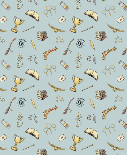 The Craft Cotton Co - Harry Potter Fabric - Magic - Blue