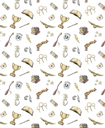 The Craft Cotton Co - Harry Potter Fabric - Magic - White