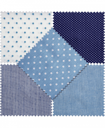 Groves - Fat Quarters - Cotton/Linen - Blue (LA101)