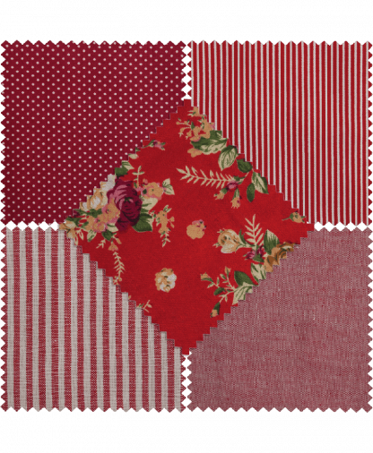 Groves - Fat Quarters - Cotton/Linen - Red (LA105)