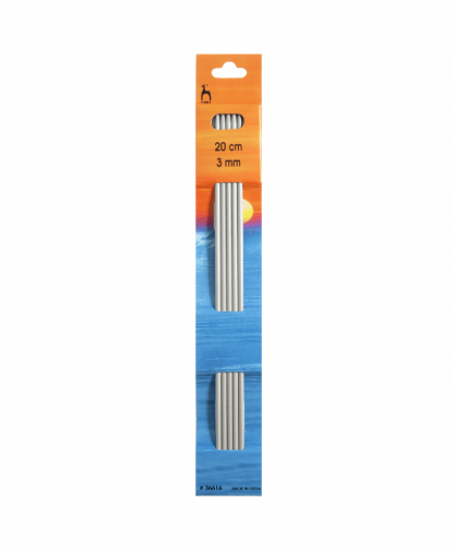 Pony - Double Pointed Knitting Needles Pack of 5 Aluminium 20cm - 3.00mm (P36616)