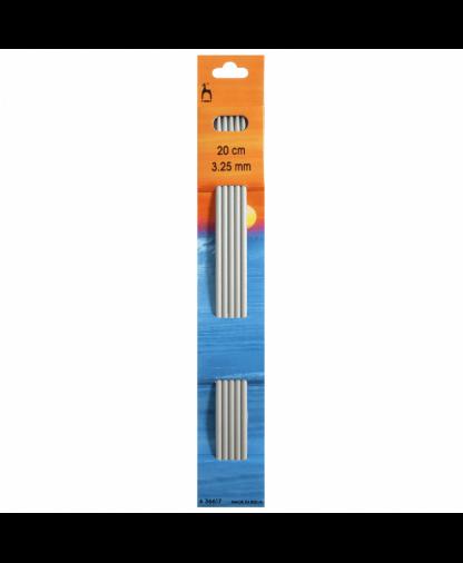 Pony - Double Pointed Knitting Needles Pack of 5 Aluminium 20cm - 3.25mm (P36617)