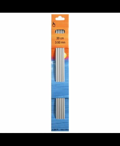 Pony - Double Pointed Knitting Needles Pack of 5 Aluminium 20cm - 3.50mm (P36618)