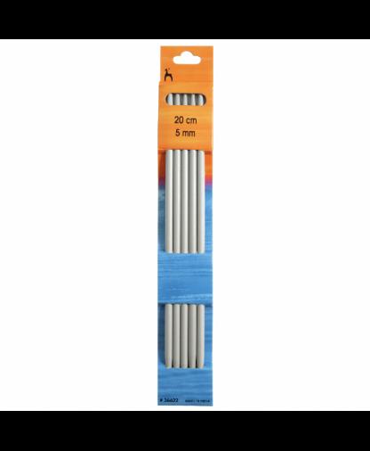 Pony - Double Pointed Knitting Needles Pack of 5 Aluminium 20cm - 5.00mm (P36622)