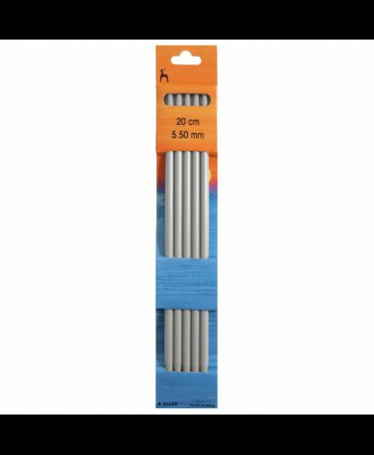 Pony - Double Pointed Knitting Needles Pack of 5 Aluminium 20cm - 5.50mm (P36659)