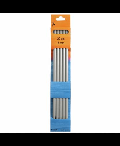 Pony - Double Pointed Knitting Needles Pack of 5 Aluminium 20cm - 6.00mm (P36660)