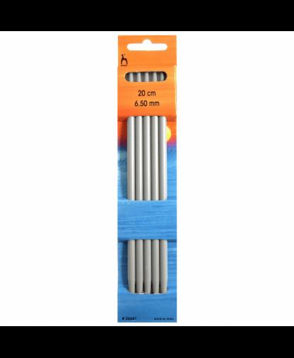Pony - Double Pointed Knitting Needles Pack of 5 Aluminium 20cm - 6.50mm (P36661)
