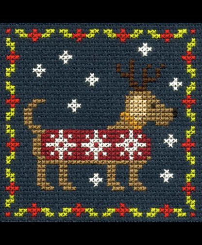 DMC Christmas Mini Cross Stitch Kit - Festive Puppy