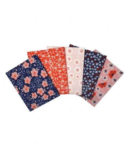 Craft Cotton Co - Floral - Navy - Fat Quarters