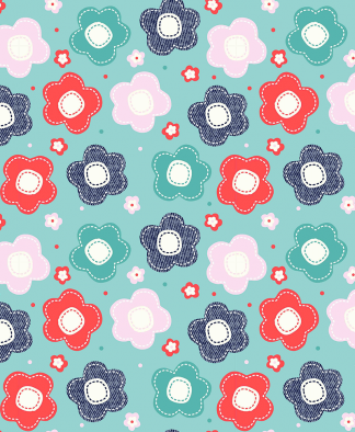 The Craft Cotton Co - Sew Beautiful - Mint Flowers (2303-04)