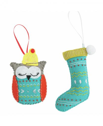Trimits - Make Your Own Felt Decoration Kit - Christmas Stocking & Owl (GCK022)