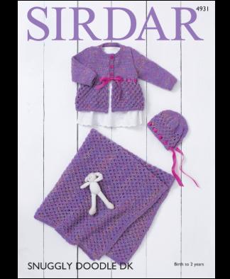 Sirdar 4931 Coat Bonnet Blanket in Snuggly Doodle DK