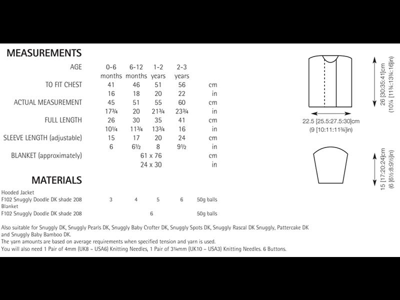 Sirdar 5172 Hooded Jacket and Blanket in Snuggly Doodle DK Measurements