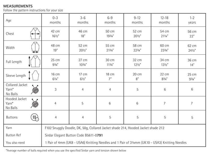 Sirdar 5284 Jackets in Snuggly Doodle DK Measurements