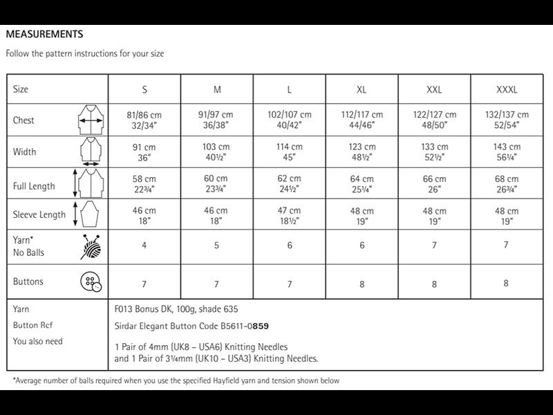 Sirdar 10043 Cardigan in Hayfield Bonus DK Measurements