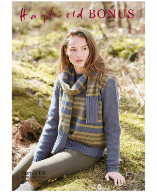 Sirdar 10044 Sweater and Scarf in Hayfield Bonus DK
