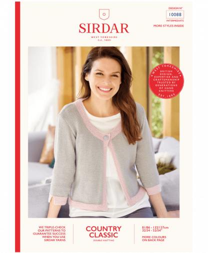 Sirdar 10088 3qtr Sleeved Jacket in Country Classic