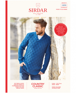 Sirdar 10090 Mens Shawl Collar Sweater in Country Classic DK