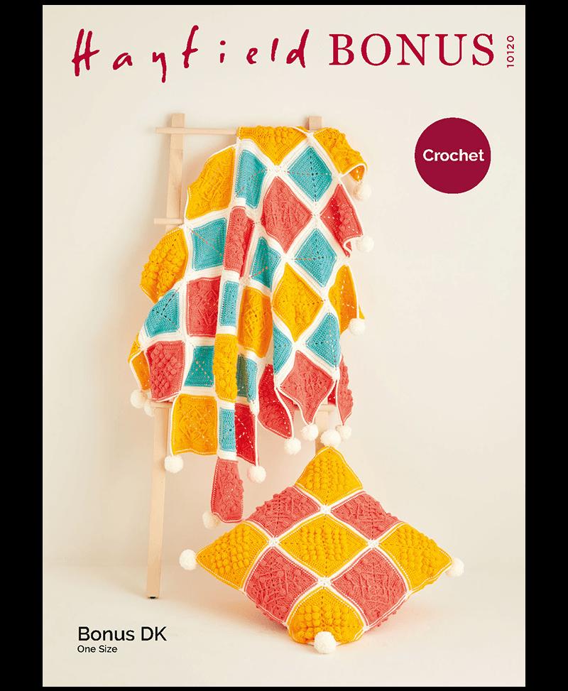 Sirdar 10120 Crochet Blanket and Cushion in Hayfield Bonus DK