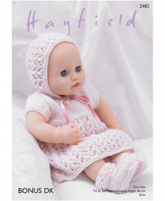 Sirdar 2482 Baby Dolls Dress, Bonnet, Bootees and Pants in Hayfield Bonus DK