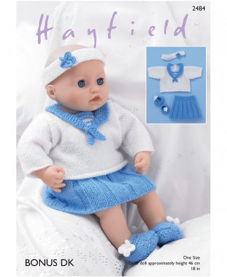 Sirdar 2484 Baby Dolls Sailor Top, Skirt, Pants, Shoes and Headband in Hayfield Bonus DK