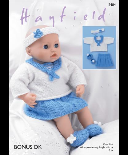 Sirdar 2484 Baby Dolls Sailor Top, Skirt, Pants, Shoes and Headband in Hayfield Bonus DK