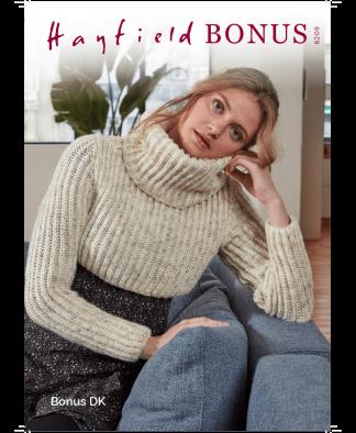 Sirdar 8209 Cropped Sweater in Hayfield Bonus DK Measurements