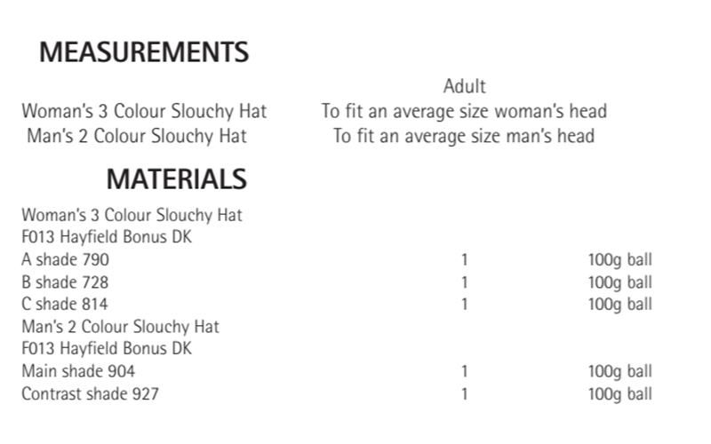 Sirdar 8213 Hats in Hayfield Bonus DK Measurements