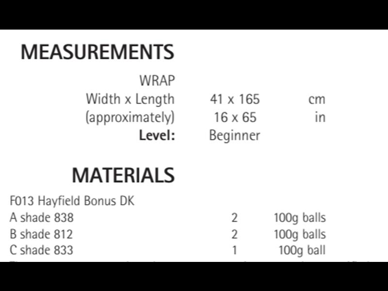 Sirdar 8215 Wrap in Hayfield Bonus DK Measurements