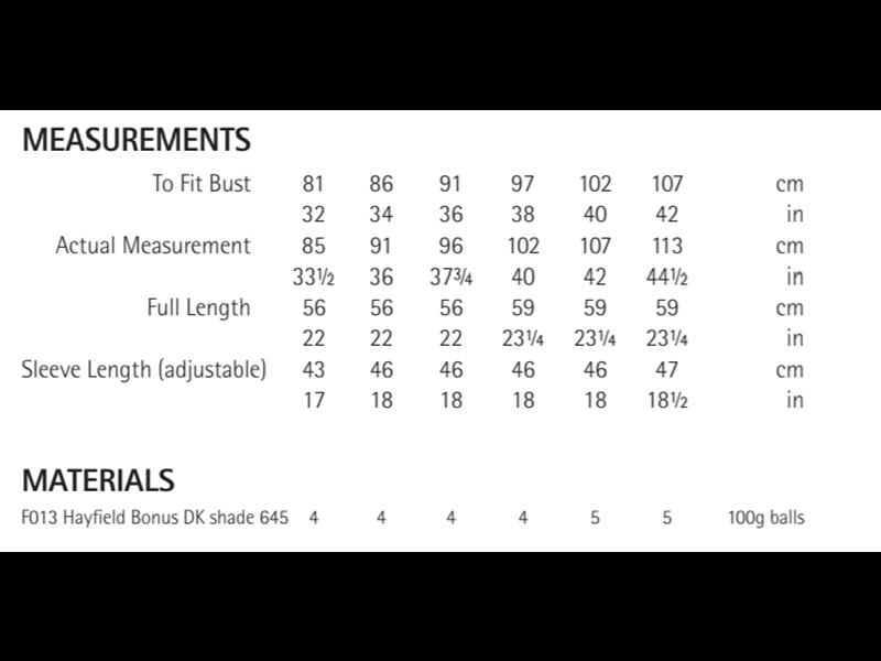Sirdar 8283 Sweater in Hayfield Bonus DK Measurements