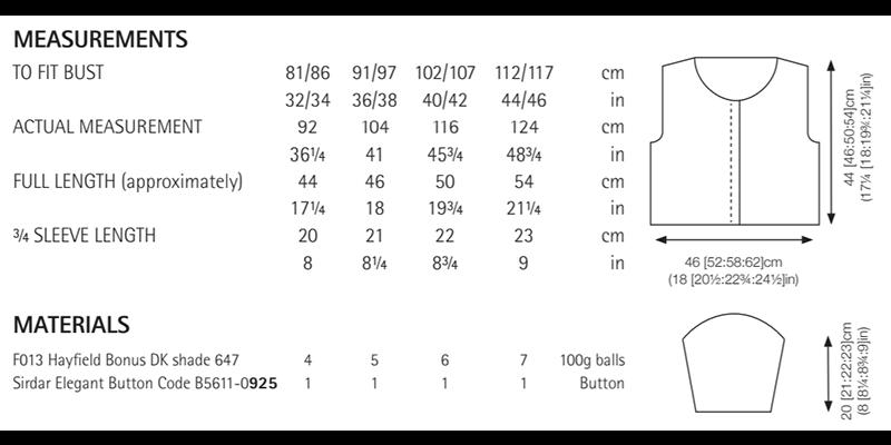 Sirdar 8284 Cardigan in Hayfield Bonus DK Measurements
