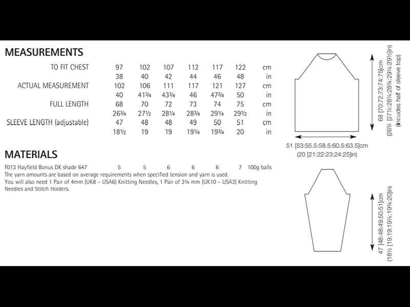 Sirdar 8286 Man's Sweater in Hayfield Bonus DK Measurements