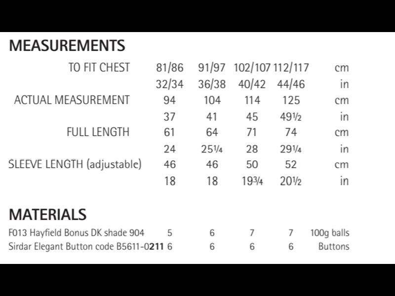 Sirdar 8287 V Neck Cardigan in Hayfield Bonus DK Measurements
