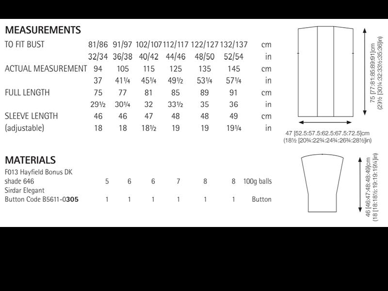 Sirdar 8289 Jacket in Hayfield Bonus DK Measurements