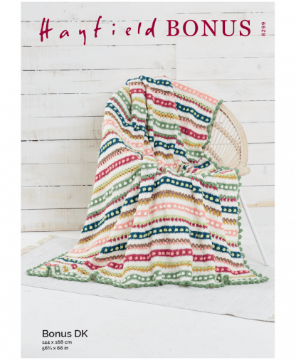 Sirdar 8299 Tulip and Bobble Blanket in Hayfield Bonus DK