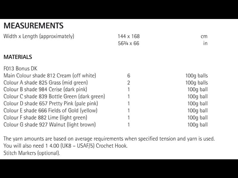 Sirdar 8299 Tulip and Bobble Blanket in Hayfield Bonus DK Measurements